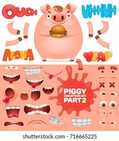 Creation kit of cartoon emoticon pig character vector illustration.
