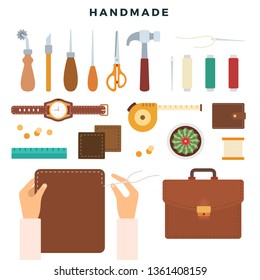 Creation of leather products, handmade. Tools and leather goods, the process of making leather goods by hand. Master's workplace. Vector illustration.