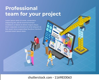 Creation and promotion of sites. UI / UX design. People work in teams on a project. The crane lifts the design element. Business processes and office situations. Flat 3d isometric vector illustration.