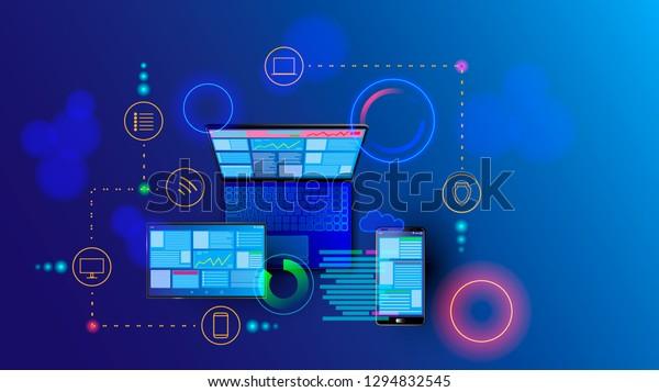 Creation Responsive Internet Website Multiple Platforms Stock Vector