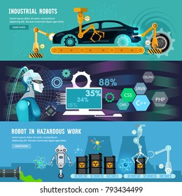 Creation of robots banner. Artificial intelligence, modern technologies microchips development. Car assembly line