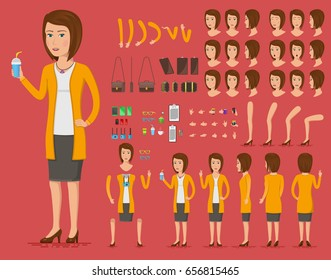 Creation set of beautiful young woman character with a cup of coffee for create animation. Separate parts of female person. Front, side, back view of woman. Vector illustration.
