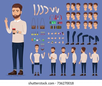 Creation set of handsome young man character with cup of coffee for create animation. Separate part of male person. Types of faces and emotions of guy. Front, side, back view. Vector illustration.