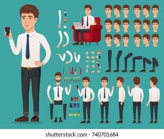 Creation set of handsome young man character with a phone in hand for create animation. Separate part of male person. Types of faces and emotions of guy. Front, side, back view. Vector illustration.