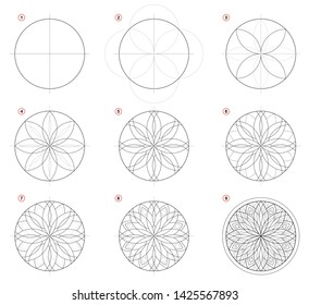 Creation step by step pencil drawing. Page shows how learn to draw Gothic stained glass window with rose. Print for artists school textbook. Developing skills for design. Hand-drawn vector image.