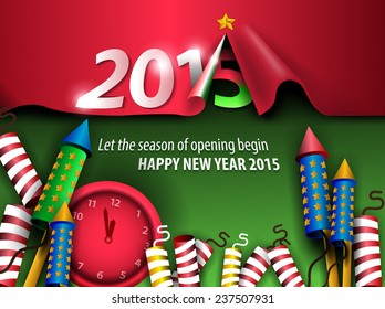 Creative 2015 new year background with curled paper, firework, and red clock. Vector EPS 10 illustration.