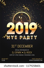 Creative 2019 NYE (New Year Eve) Party template or flyer design with time and venue details for New Year celebration concept.
