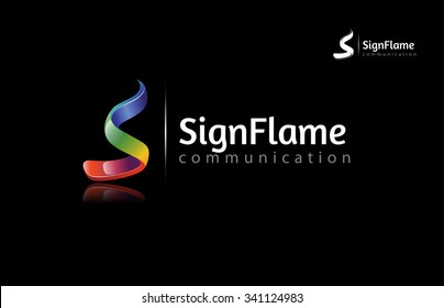 Creative 3 dimensional abstract vector logo design with shinny effect. this object look like flames and letter of S put on black background.