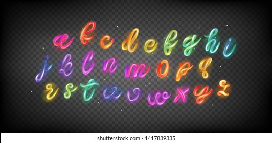 Creative 3d Font for Logo Design in Transparent Background. Multicolor ABC Set with Glossy and Glitter. Colorful Neon Gradient Alphabet in Magic Rainbow Style.