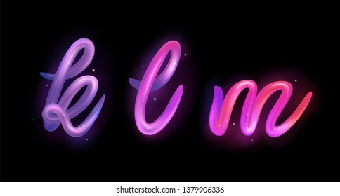 Creative 3d letters k, l, m logo design vector template. Multicolor ABC font with glossy and glitter. Colorful gradient alphabet collection. Type characters logotype symbols in magic style.
