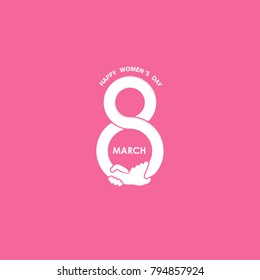 Creative 8 March icons vector logo design template with international women's day icon.Vector illustration