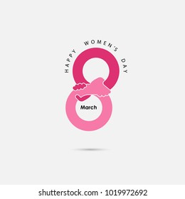 Creative 8 March logo vector design with international women's day icon.Women's day symbol. Minimalistic design for international women's day concept.Vector illustration