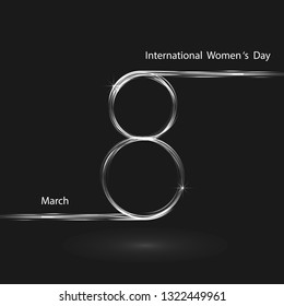 Creative 8 March logo vector design with international women's day background.Women's day symbol.Minimalistic design for international women's day concept.Vector illustration