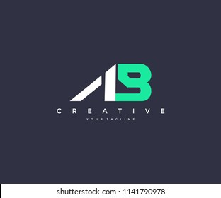 Creative AB Letter Bold Strong Linked Logo