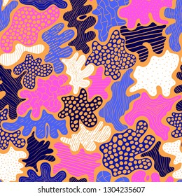 Creative abstract background with bright spots element. Doodle cell structure seamless pattern in trendy colors. Design for fabric and poster textile. Good for card, invitation and brochure.