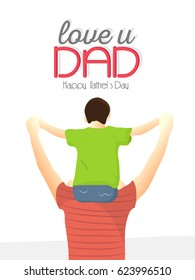 creative abstract, banner or poster for Happy Father's Day or Love You Dad with nice and creative design illustration.