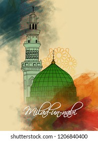 creative abstract with beautiful design illustration of green mosque and moon in a background with the text of eid and Milad Un Nabi