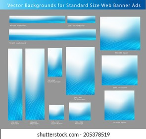 Creative, Abstract Blue Background Set for Standard Size Web Banner Ads