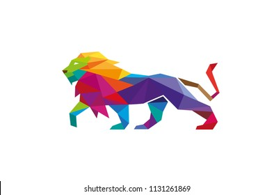 Creative Abstract Colorful Lion Logo Vector Design Illustration