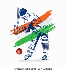 creative abstract cricket player hi the ball design by brush stroke vector