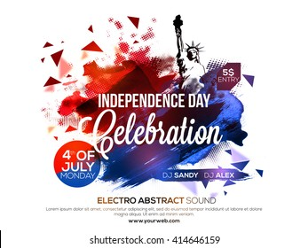 Creative abstract design decorated, Poster, Banner or Flyer design for American Independence Day celebration.