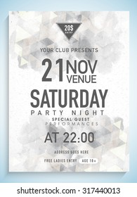Creative abstract flyer, template or banner design with date, time and other details for Party Night.