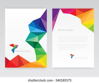 Creative abstract geometric multicolored letterhead template mockups with bird logo element in low poly style