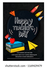 creative abstract, Happy Teacher's Day poster concept creative design illustration
