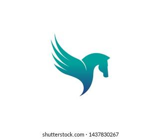 Creative Abstract Horse Wing Logo Design Vector Symbol Illustration