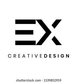Creative abstract letter EX logo design vector. Abstract arrow logo design concept