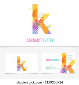 Creative abstract Letter k design vector template on The Business Card Template. Abstract Colorful Alphabet .Friendly funny ABC Typeface. Type Characters.EPS10
