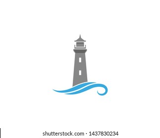 Creative Abstract Lighthouse Waves Logo Design Vector Symbol Illustration