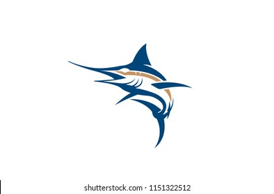 Creative Abstract Marlin Fish Logo Design Illustration