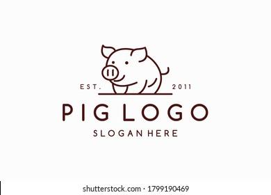 Creative abstract pig logo design vector template