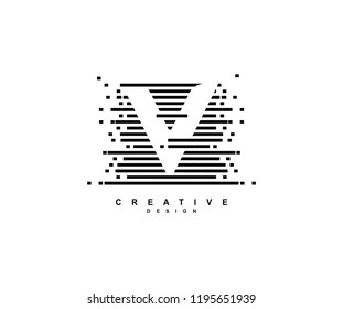 Creative Abstract Pixel Motion Initial Letter V Illusion Style Logo