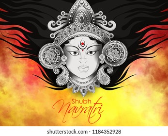 creative abstract or poster, banner for Shubh Navratri with Maa Durga face  design illustration, Shubh Navratri, Durga Puja.