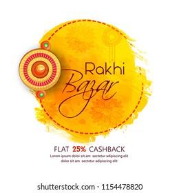 Creative abstract or poster for rakhi bazar, Raksha Bandhan festival offer  with creative rakhi design illustration.