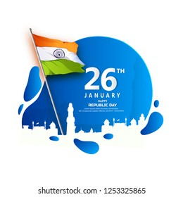 Creative abstract or poster  for Republic Day Celebration of Indian Vector illustration 26january