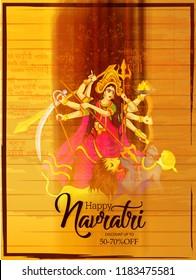 creative abstract or poster for Shubh Navratri with  creative Maa Durga design illustration, Shubh Navratri, Durga Puja.