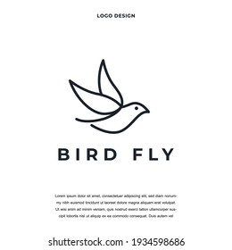 Creative abstract premium bird line icon logo design color editable vector illustration