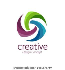 creative abstract simple pinwheel color logo vector