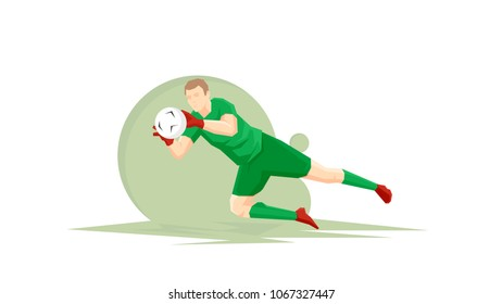 Creative abstract soccer player. Soccer goalkeeper catches the ball. Flat Vector illustration