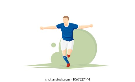 Creative abstract soccer player. Soccer player is happy with a goal scored. Flat Vector illustration