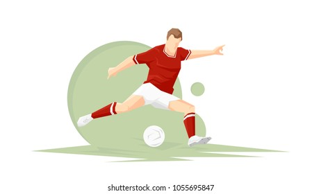 Creative abstract soccer player. Soccer Player Kicking Ball. Vector illustration