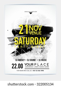 Creative abstract Template, Banner or Flyer design with date and time details for Saturday Party Night celebration.