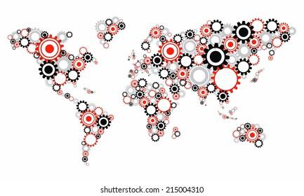Creative Abstract Transparent Cog Wheels World Map vector illustration