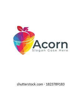 Creative Acorn Concept Logo Design Template. Acorn with leaf logo illustration vector template.