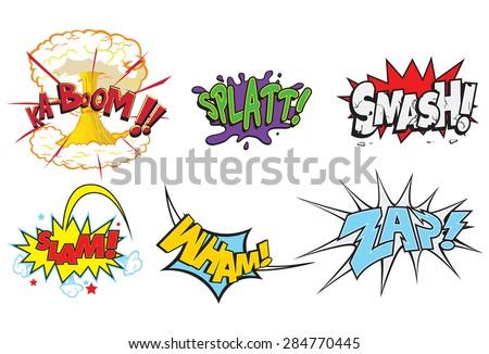 creative action words comics such smash のベクター画像素材