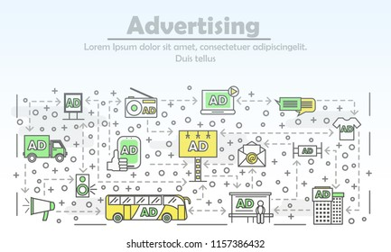 Creative advertising vector icons. Product promotion collage with classic printed marketing elements and modern AD such as banners, billboards, bus advertising, direct message, contextual advertising