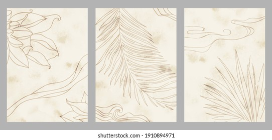 Creative aesthetic posters in Japanese vintage style. A4 vertical illustrations. Set of three backgrounds with watercolor texture and thin lines, traditional pattern, plants, leaves.